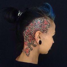 Head Tattoo by Pierluigi Deliperi, Sardegna, Italy