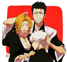 Isshin, Rangiku, Toshiro. 10th Division in the past. #bleach