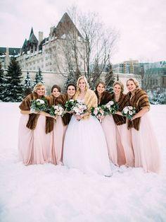 Winter Brides & Their Maids ~ we ❤ this! moncheribridals.com