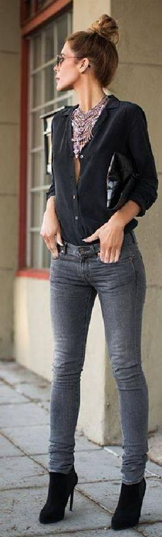 #capsule #wardrobe #essentials - #outfit #tips : #gray #skinny #jeans and #black #blouse with #buttons and black #heels and #handbag
