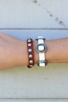 Wild West Bracelet Set White and Burnt Red