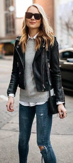 #winter #fashion /  Black Leather Jacket / Grey Knit / White Shirt / Destroyed Skinny Jeans