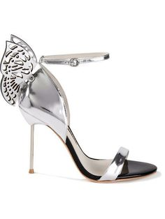 Sophia webster Silver Flutura 4 Butterfly Patent Leather Sandals women evening shoes