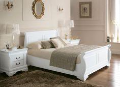 £350 Louie Sleigh Bed - White