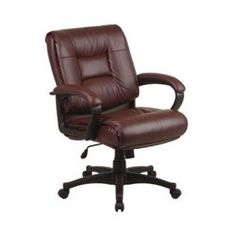 Work Smart Tufted Leather Desk Chair, EX5161