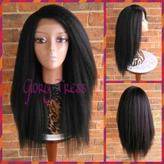 On Kinky Straight Lace Front Wig Natural Yaki Straight Wig Blown Out... ($95) ❤ liked on Polyvore featuring beauty products, haircare, hair styling tools, bath & beauty, grey, hair care, wigs, straight iron, straightening iron and flat iron