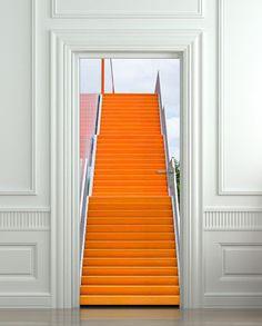 Door STICKER stair orange raise raising mural decole by Wallnit