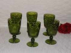 Vintage Indiana Glass Green Thumbprint Goblet
