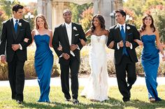 Wedding Party Royal Blue Bridesmaids And Ties With Grey