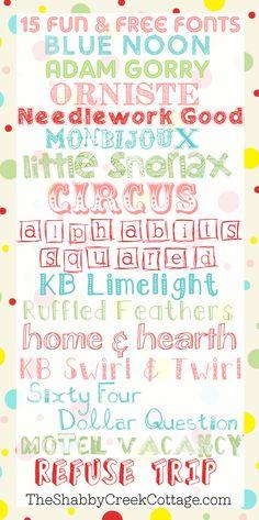 15 Free Fonts via The Shabby Creek Cottage @Gina @ Shabby Creek Cottage - great for labels.