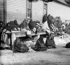 Sioux Women Waiting for Rations at Pine Ridge Reservation, 1891, courtesy Library of Congress
