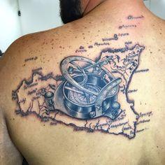 Sicily old map, compass, tattoo compass, sicilia tattoo