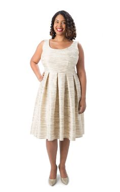 """Fit & Flare AND plus-size... Key phrase """"even a true beginner with patience"""" could see this dress. YAH!"""