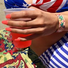 Totally char broiled from head to toe but snagged this dazzling pic of the Happy Hippie cuff with watermelon nails  juice