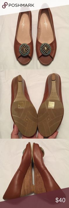 Diana E Kelly leather size 7.5 peep toe wedges Like new! These were worn once! Look and feel new! Super soft leather with gold & turquoise pendant on toes! Diana E Kelly size 7.5 peep toe wedges Diana E Kelly Shoes Wedges