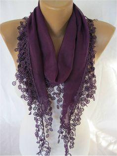 Elegant  Cotton Scarf with Trim Edge Gift ScarfShawl by MebaDesign, $13.90