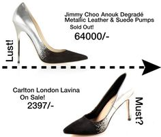 Jimmy Choo Anouk degrade metallic leather and suede pumps in silver and black copied by Carlton London Lavina in faux leather in silver and black.