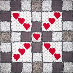 Raggedy Love Hearts Quilt Pattern AccQuilt GO! This rag quilt is a perfect way to use up some of your stash or simply use fabric with a theme. Heart Quilt Pattern, Heart Patterns, Quilt Patterns, Quilting Projects, Sewing Projects, Quilting Ideas, Heart Art, Love Heart, Scrappy Quilts