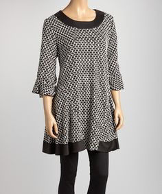 Ivory & Black Geometric Swing Tunic | Daily deals for moms, babies and kids