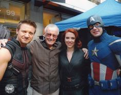 The Avengers take a break with Jeremy Renner as Hawkeye. Stan Lee as......? Scarlett Johansson as Black widow and Chris Evans as Captain America. Snagged this pic for 10 bucks from Pittsburgh Comic Con 2012