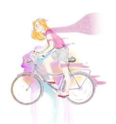 EFFORT OF FREEDOM - Pencil sketch painted digitally #bycicle #illustration