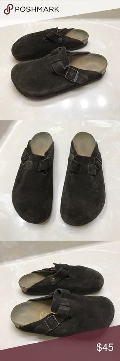 Authentic Birkenstock leather sandals mules 6 Authentic Birkenstock brown suede leather sandals mules 6 Euro 37 good condition light wear/marks on suede Birkenstock Shoes Sandals