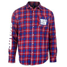 Men's New York Giants NFL Klew Royal/Red Wordmark Flannel Button-Up Long Sleeve T-Shirt