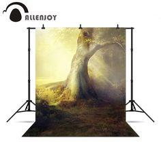 Allenjoy Photo background Tree light lawn children fairy tale vinyl photo backdrop vinyl photo backdrop