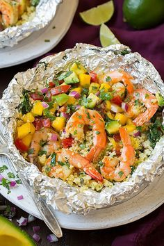 Shrimp and Couscous Foil Packets with Avocado-Mango Salsa: Healthy and hearty, this shrimp and couscous packet can be cooked and ready in just 30 minutes! The pairing of avocado-manga salsa with cilantro-lime shrimp is divine.