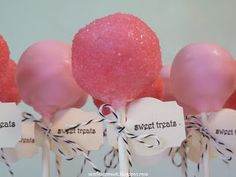 Pretty Pink Cake Pops recipe; follow link on page to Basic Cake Pop Tutorial for extra directions