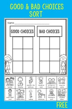 Behavior Expectations and Think Sheet Free good and bad choices sort is great for the beginning of the year in kindergarten or first grade. Students sort pictures of good and bad choices. Beginning Of The School Year, First Day Of School, First Day First Grade, Middle School, Think Sheet, Classroom Behavior Management, Classroom Expectations, Social Emotional Learning, Character Education