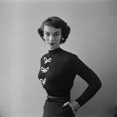 Model Victora Von Hagen wearing a blouse with bows, 1952. Look how tiny her waste is, and they say girls nowadays are to thin?!