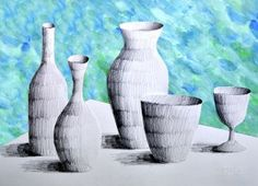Vases in pencil on painted background