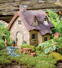 Resin Thatched Fairy Cottage And Fairy Garden Accessories plowhearth.com