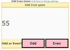 "This is an image from this resource on the Internet4Classrooms' ""Second Grade Math help on standardized tests, even or odd"" resource page:    Find Odd or Even.    Choose the minimum and maximum numbers and generate a game for students to decide if the number is odd or even."