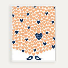 200 Guest Large Wedding Guest Book  Lovebirds by HighburyPlace, $65.00