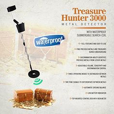 cool Pyle Metal Detector Coin Gold Metal Finder Adjustable Controls Water Proof Coil Treasure Hunter 3000 (PHMD3)