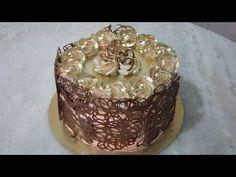 Bolo com grades de chocolate e chantilly dourado!! - YouTube