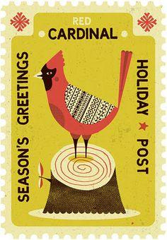 illustration, animal, bird, cardinal, stamp, tree, design, pattern, naive. Tom Frost