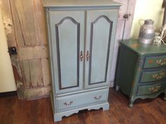 Armoire Maple Wood Wardrobe Painted Furniture by VintageHipDecor, $595.00