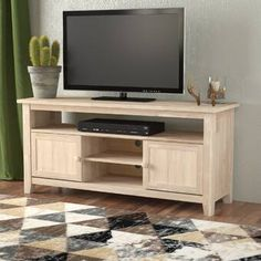 Loon Peak Ramapo Solid Wood TV Stand for TVs up to 65 inches Color: Unfinished Tv Furniture, Furniture Styles, Living Room Furniture, Pallet Furniture, Solid Wood Tv Stand, Cool Tv Stands, Living Room Tv, Modern Interior Design, Entertainment Center