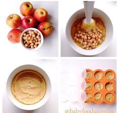 Baby purees with chick pea and apple, suitable from 6 months old - Homemade Baby Food Recipes – Cereal, Fruits & Veggies Baby Puree Recipes, Pureed Food Recipes, Baby Food Recipes, Toddler Meals, Kids Meals, Toddler Food, Healthy Baby Food, Food Baby, Peas Baby Food