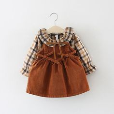 Baby / Toddler Girl Preppy Style Plaid Shirt and Solid Suspender Dress Set Baby / Toddler Girl Preppy Style Plaid Shirt and Solid Suspender Dress Set - Cute Adorable Baby Outfits Baby Girl Fashion, Toddler Fashion, Kids Fashion, Suspender Dress, Plaid Fashion, Little Fashionista, Baby Kind, Baby Outfits Newborn, Cute Baby Clothes