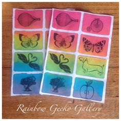 Rainbow Gecko Gallery Stamped Sticker Sheets by RainbowGeckoGallery on Etsy