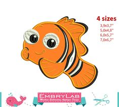 Applique Nemo Fish. Finding Dory. Machine Embroidery Applique Design. Instant Digital Download (16267) by EmbryLab on Etsy
