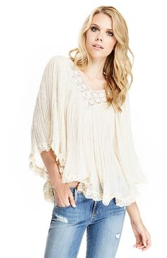 Jen's Pirate Booty Nuevo Stevie Crop Tunic in Cream One Size | DAILYLOOK