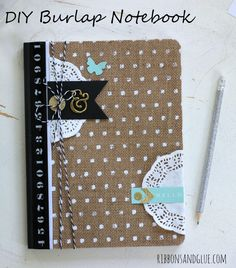 DIY Burlap Notebook made from an altered composition book with @pebblesinc Home + Made collection