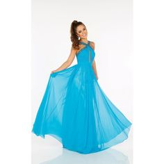 Mon Cheri 116594 Prom Long Dress Long Halter Sleeveless ($358) ❤ liked on Polyvore featuring dresses, gowns, formal dresses, turquoise, long blue dress, blue formal gown, long evening gowns and long formal dresses