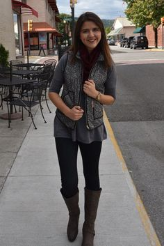 Grab this padded herringbone vest while you can! It is the perfect accessory for those chilly days and evenings; both warm AND cute! It's 100% polyester so it won't shrink. Grace wears the small.