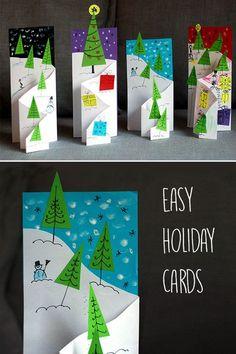 36 DIY Christmas Cards - How to Make Homemade Holiday Cards Christmas Card Decorations, Christmas Cards Handmade Kids, Pop Up Christmas Cards, Printable Christmas Cards, Christmas Crafts For Kids, Xmas Cards, Kids Christmas, Holiday Cards, Christmas Paintings